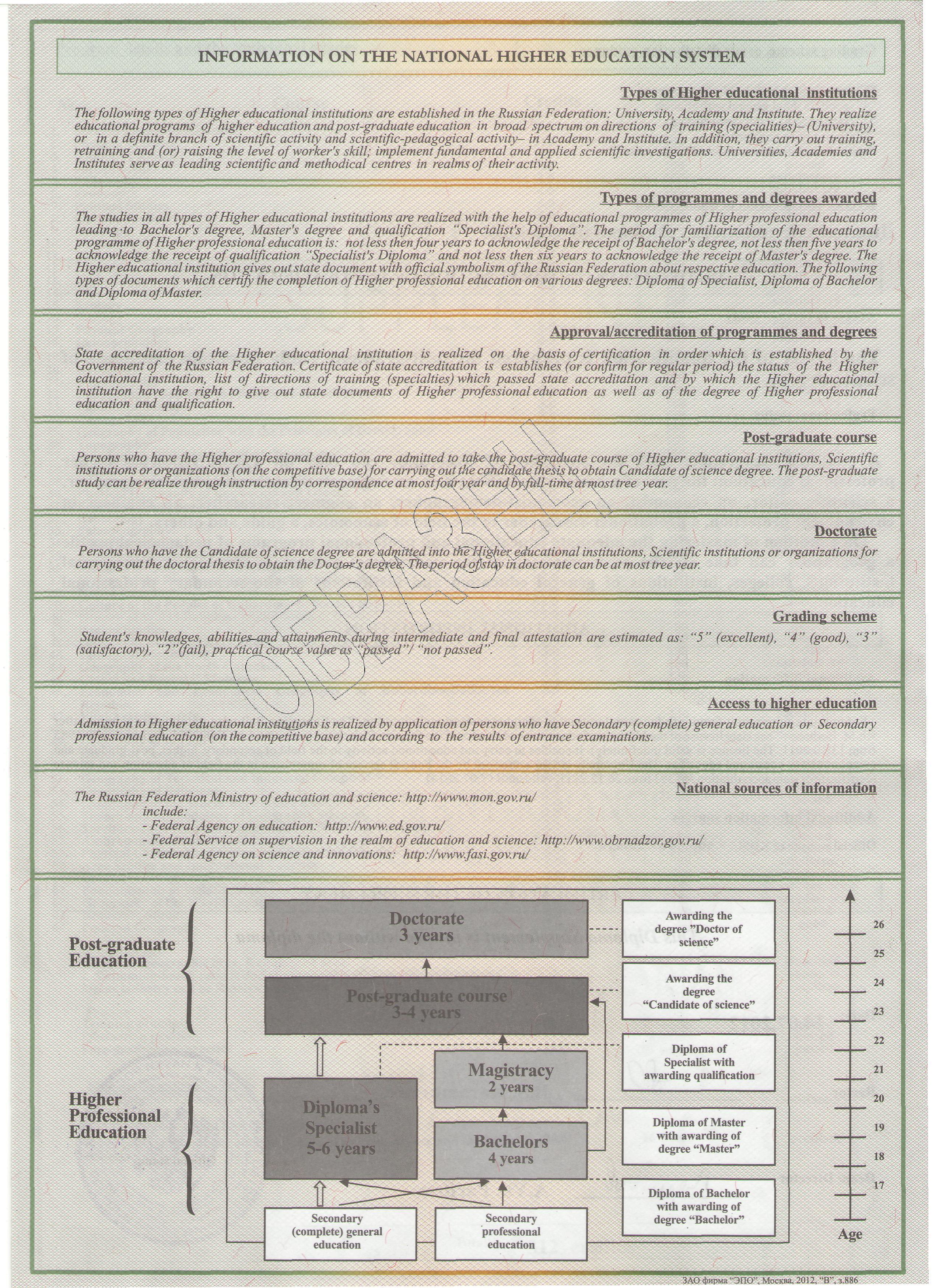 Прием  Общая информация о национальной системе образования
